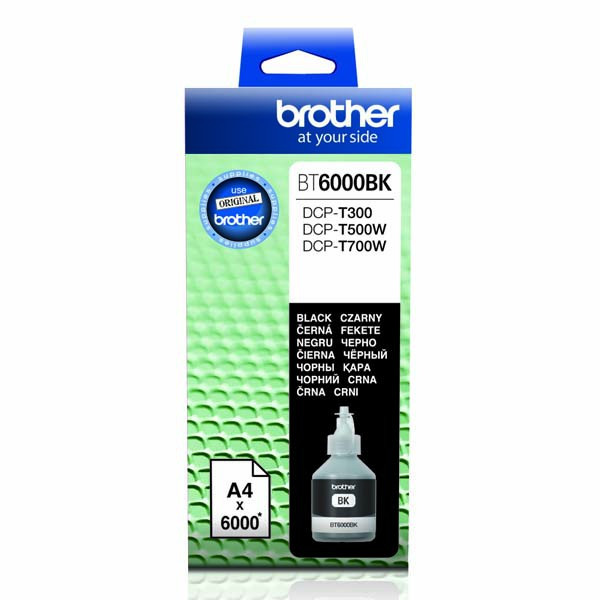 Brother originál ink BT-6000BK, black, 6000str., Brother DCP T300, DCP T500W, DCP T700W