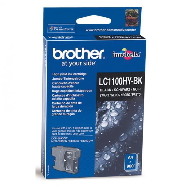 Brother originál ink LC-1100HYBK, black, 900str., high capacity, Brother DCP-6690CW, MFC-6490CW