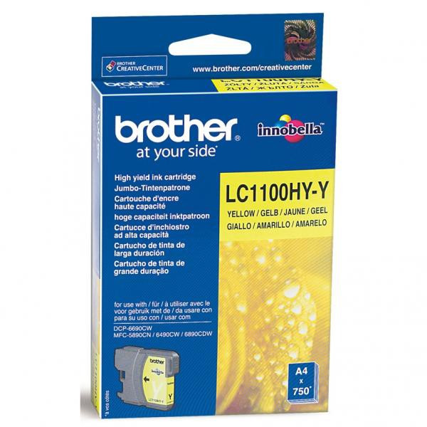 Brother original ink LC-1100HYY, yellow, 750str., high capacity, Brother DCP-6690CW, MFC-6490CW