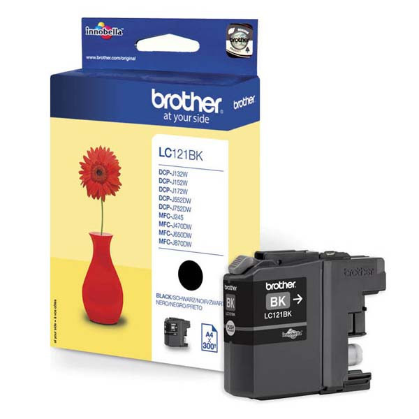 Brother originál ink LC-121BK, black, 300str., Brother DCP-J552DW,  MFC-J470DW