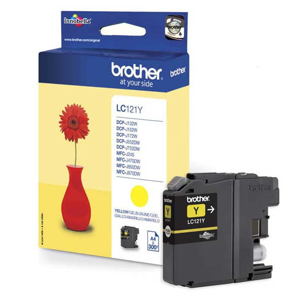Brother original ink LC-121Y, yellow, 300str., Brother DCP-J552DW,  MFC-J470DW