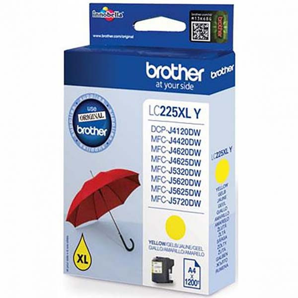 Brother original ink LC-225XLY, yellow, 1200str., 1ks, Brother MFC-J4420DW, MFC-J4620DW
