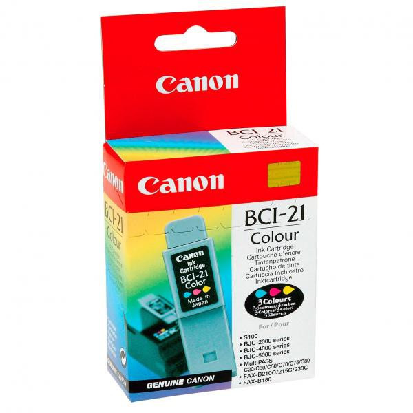 Canon originál ink BCI21C, color, blister, 120str., 0955A351, Canon BJ-C4000, 2000, 4100, 4400, 4650, 5500