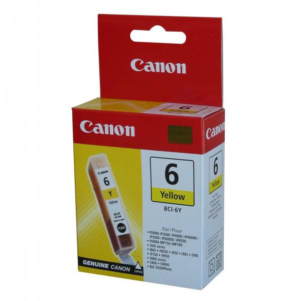 Canon original ink BCI6Y, yellow, 280str., 13 4708A002, Canon S800, 820, 820D, 830D, 900, 9000, i950