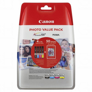 Canon original ink CLI-551XL C/M/Y/BK Photo Paper Value Pack, CMYK, blister, 6443B006, Canon Pixma iP7250,iP8750,iX6850,MG5450,MG5