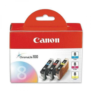 Canon original ink CLI8CMY, cyan/magenta/yellow, 0621B029, 0621B026, Canon iP4200, iP5200, iP5200R, MP500, MP800