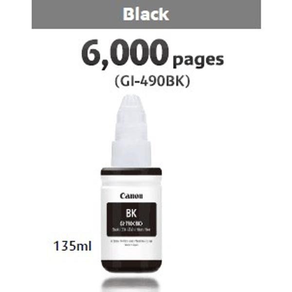 Canon original ink GI-490 Bk, black, 6000str., 135ml, 0663C001, Canon PIXMA G1400, G2400, G3400