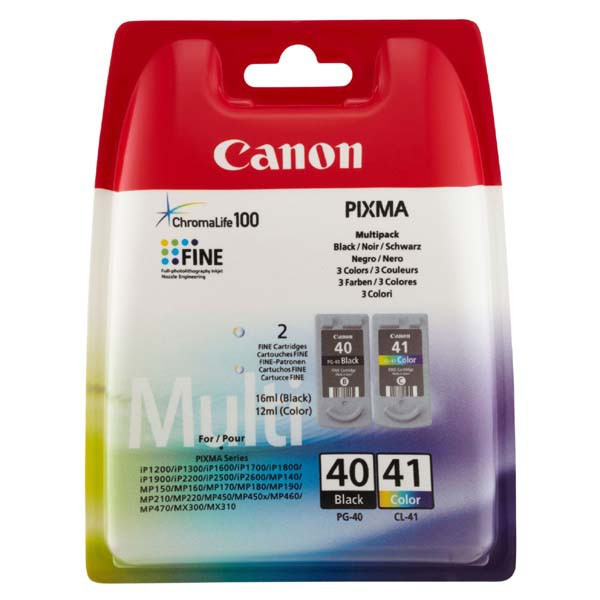 Canon original ink PG40/CL41 multipack, black/color, blister s ochranou, 16,9ml, 0615B051, Canon iP1600, 2200, MP150, 170, 450