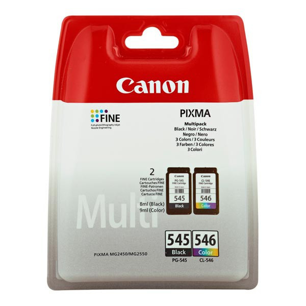 Canon original ink PG-545/CL-546, black/color, blister s ochranou, 2x180str., 1x8, 1x9ml, 8287B006, Canon Pixma MG2450, 2550, 2950