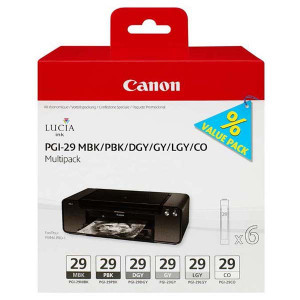Canon original ink PGI-29 MBK/PBK/DGY/GY/LGY/CO Multi pack, black/color, 4868B018, Canon Pixma Pro 1