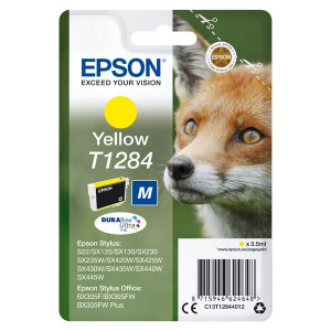 Epson original ink C13T12844022, T1284, yellow, blister, 3,5ml, Epson Stylus S22, SX125, 420W, 425W, Stylus Office BX305