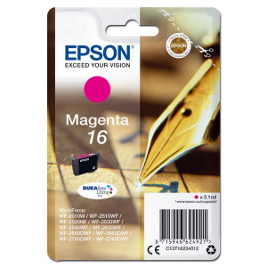 Epson originál ink C13T16234012, T162340, magenta, 3.1ml, Epson WorkForce WF-2540WF, WF-2530WF, WF-2520NF, WF-2010