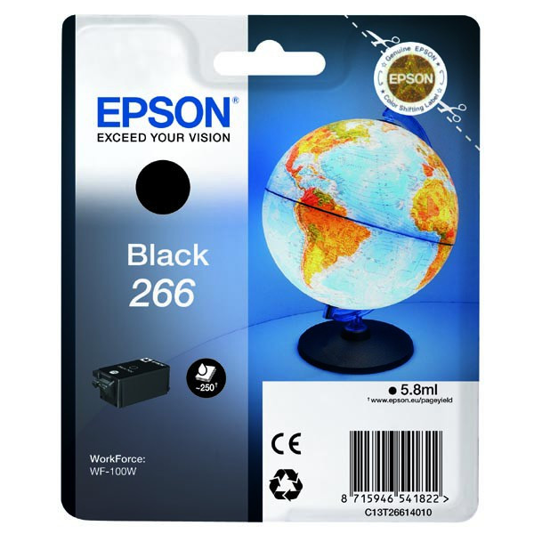 Epson original ink C13T26614010, 266, black, 5,8ml, Epson WF-100W