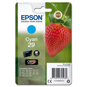 Epson original ink C13T29824012, T29, cyan, 3,2ml, Epson Expression Home XP-235,XP-332,XP-335,XP-432,XP-435