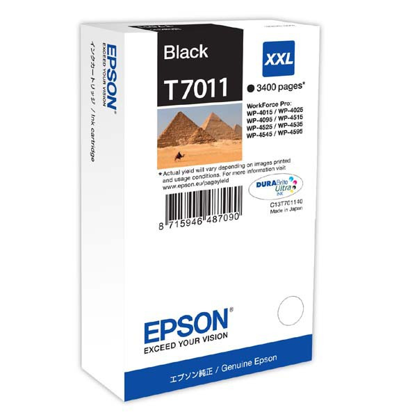 Epson original ink C13T70114010, XXL, black, 3400str., Epson WorkForce Pro WP4000, 4500 series