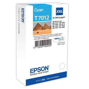 Epson original ink C13T70124010, XXL, cyan, 3400str., Epson WorkForce Pro WP4000, 4500 series