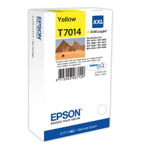 Epson original ink C13T70144010, XXL, yellow, 3400str., Epson WorkForce Pro WP4000, 4500 series
