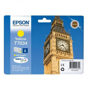 Epson original ink C13T70344010, L, yellow, 800str., Epson WorkForce Pro WP4000, 4500 series
