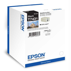Epson originál ink C13T74314010, black, 2500str., 49ml, Epson WorkForce Pro WP-M4525 DNF, WP-M4015 DN