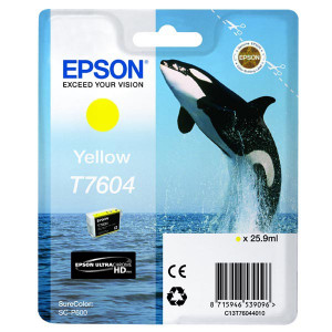 Epson original ink C13T76044010, T7604, yellow, 25,9ml, 1ks, Epson SureColor SC-P600