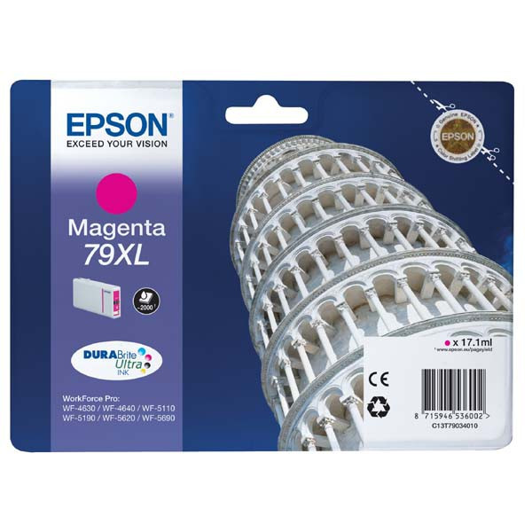 Epson original ink C13T79034010, 79XL, XL, magenta, 2000str., 17ml, 1ks, Epson WorkForce Pro WF-5620DWF, WF-5110DW, WF-5690DWF