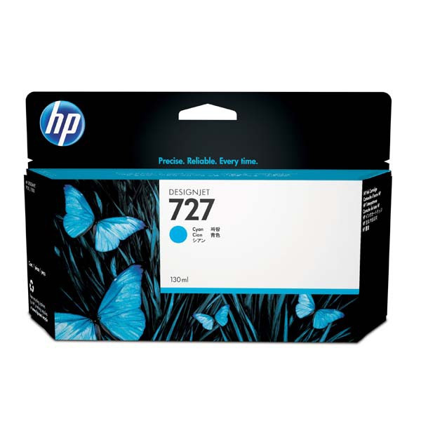 HP original ink B3P19A, HP 727, cyan, 130ml, HP DesignJet T1500, T2500, T920