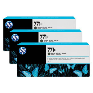 HP original ink B6Y31A, HP 771C, matte black, 3ks, HP Designjet Z6200, Z6600, Z6800