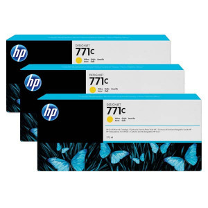 HP original ink B6Y34A, HP 771C, yellow, 3ks, HP Designjet Z6200, Z6600, Z6800