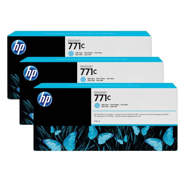 HP original ink B6Y36A, HP 771C, light cyan, 3ks, HP Designjet Z6200, Z6600, Z6800