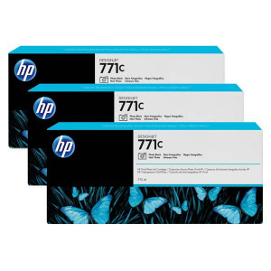 HP original ink B6Y37A, HP 771C, photo black, 3ks, HP Designjet Z6200, Z6600, Z6800