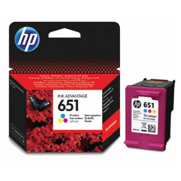 HP original ink C2P11AE, HP 651, tri-colour, 300str., HP DeskJet IA 5645, 5575, Officejet 202,252 Mobile