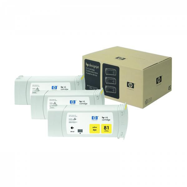HP original ink C4933A, HP 81, yellow, 680ml, HP DesignJet 5000, PS, UV, 5500, PS, UV