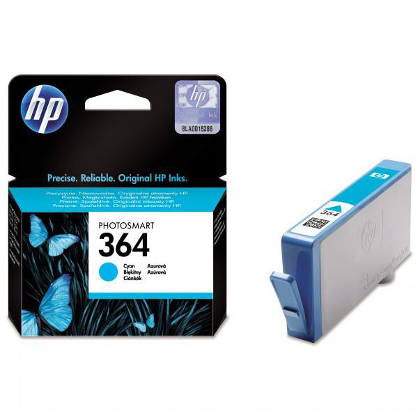HP original ink CB318EE, HP 364, cyan, 300str., HP Photosmart B8550, C5380, D5460