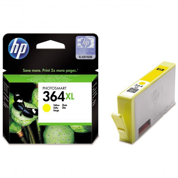 HP original ink CB325EE, HP 364XL, yellow, 750str., HP Photosmart B8550, C5380, D5460