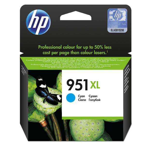 HP original ink CN046AE, HP 951XL, cyan, blister, 1500str., 24ml, HP Officejet Pro 8100 ePrinter,8620