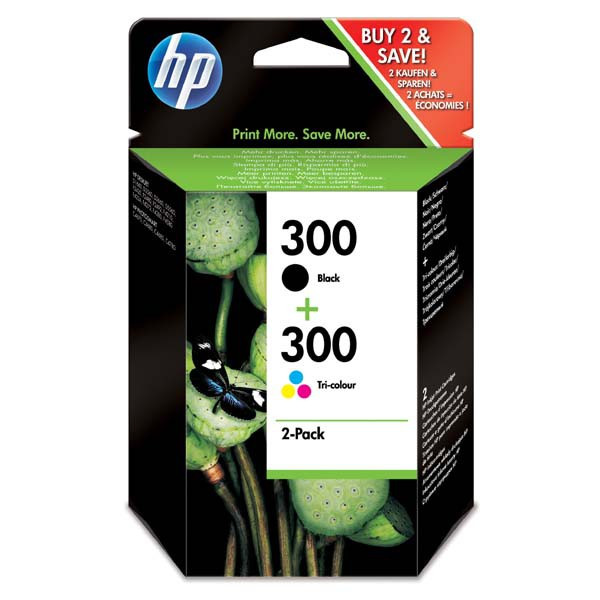 HP original ink CN637EE, HP 300, black/color, blister, 2 x 200str., 2x4ml, HP 2-pack, CC640EE a CC643EE, DeskJet D2560, F4280