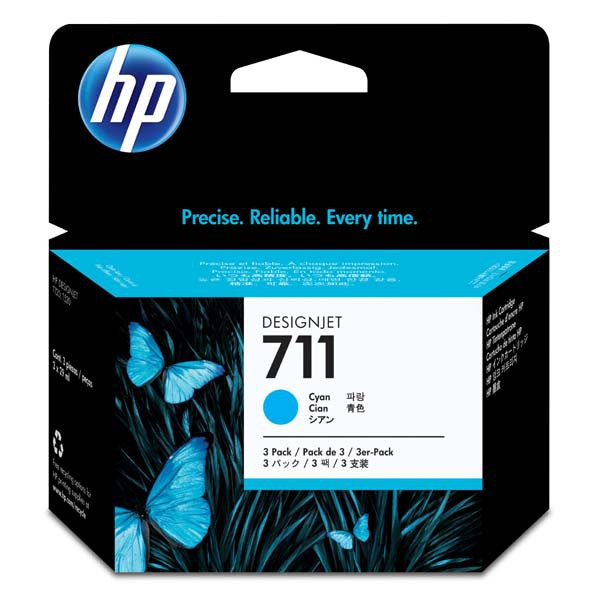 HP original ink CZ134A, HP 711, cyan, 3x29ml, 3ks, HP DesignJet T120, T520