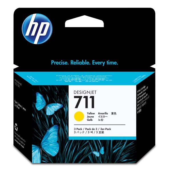 HP original ink CZ136A, HP 711, yellow, 3x29ml, 3ks, HP DesignJet T120, T520
