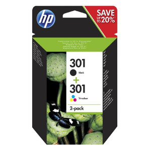 HP original ink N9J72AE, black/color, 190/165str., HP 301, HP Deskjet 1510, 3055A, Officejet 2622