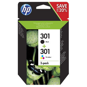 HP original ink N9J72AE, black/color, blister, 190/165str., HP 301, HP Deskjet 1510, 3055A, Officejet 2622