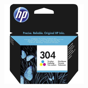 HP originál ink N9K05AE, HP 304, Tri-color, 100str., HP DeskJet 2620,2630,2632,2633,3720,3730,3732,3735