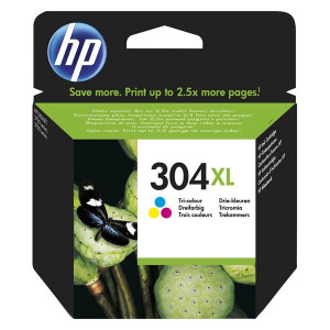 HP originál ink N9K07AE, HP 304XL, Tri-color, blister, 300str., 7ml, HP DeskJet 2620,2630,2632,2633,3720,3730,3732,3735