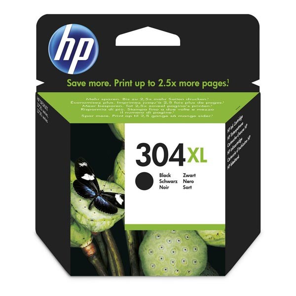 HP originál ink N9K08AE, HP 304XL, black, 300str., 5.5ml, HP DeskJet 2620,2630,2632,2633,3720,3730,3732,3735