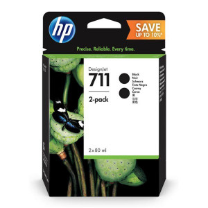 HP original ink P2V31A, HP 711, black, 80ml, 2ks, HP Designjet T120 ePrinter, T520 ePrinter