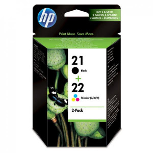 HP original ink SD367AE, HP 21 + HP 22, black/color, 190/165str., 2ks, HP 2-Pack, C9351AE + C9352AE