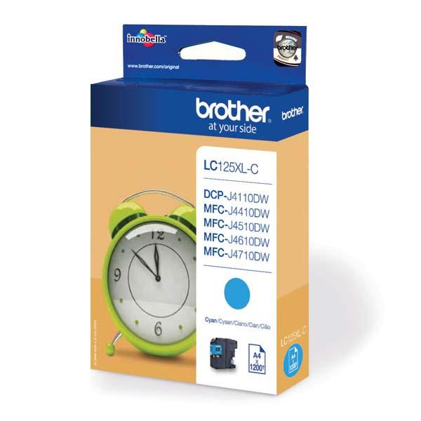 Brother originál ink LC-125XLC, cyan, 1200str., Brother MFC-J4510 DW